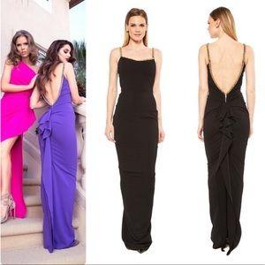 Nicole Bakti Black Crystallized Trim Ruffled Dress
